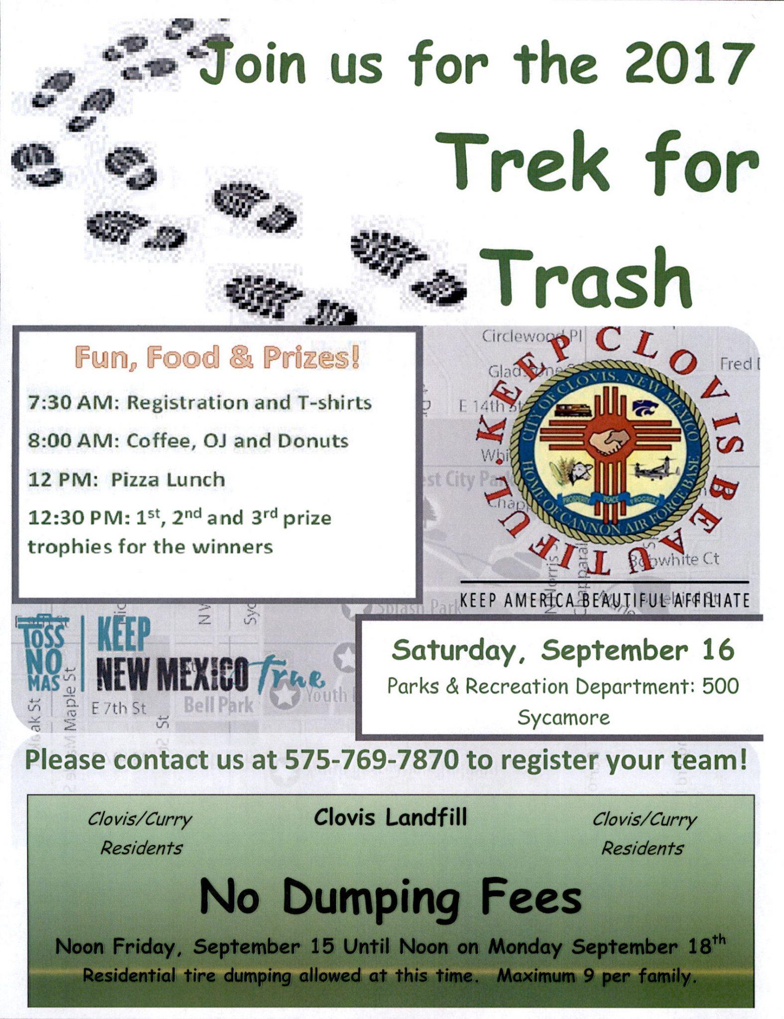 New mexico curry county clovis - Trek For Trash Saturday September 16