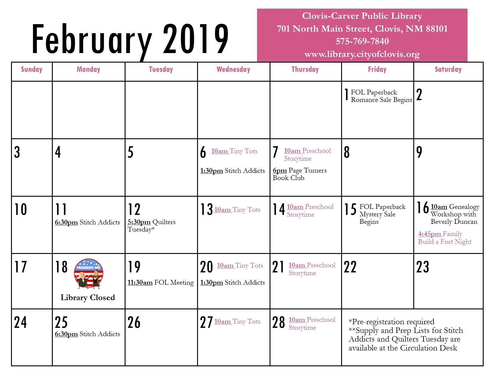Calendar | February 2019