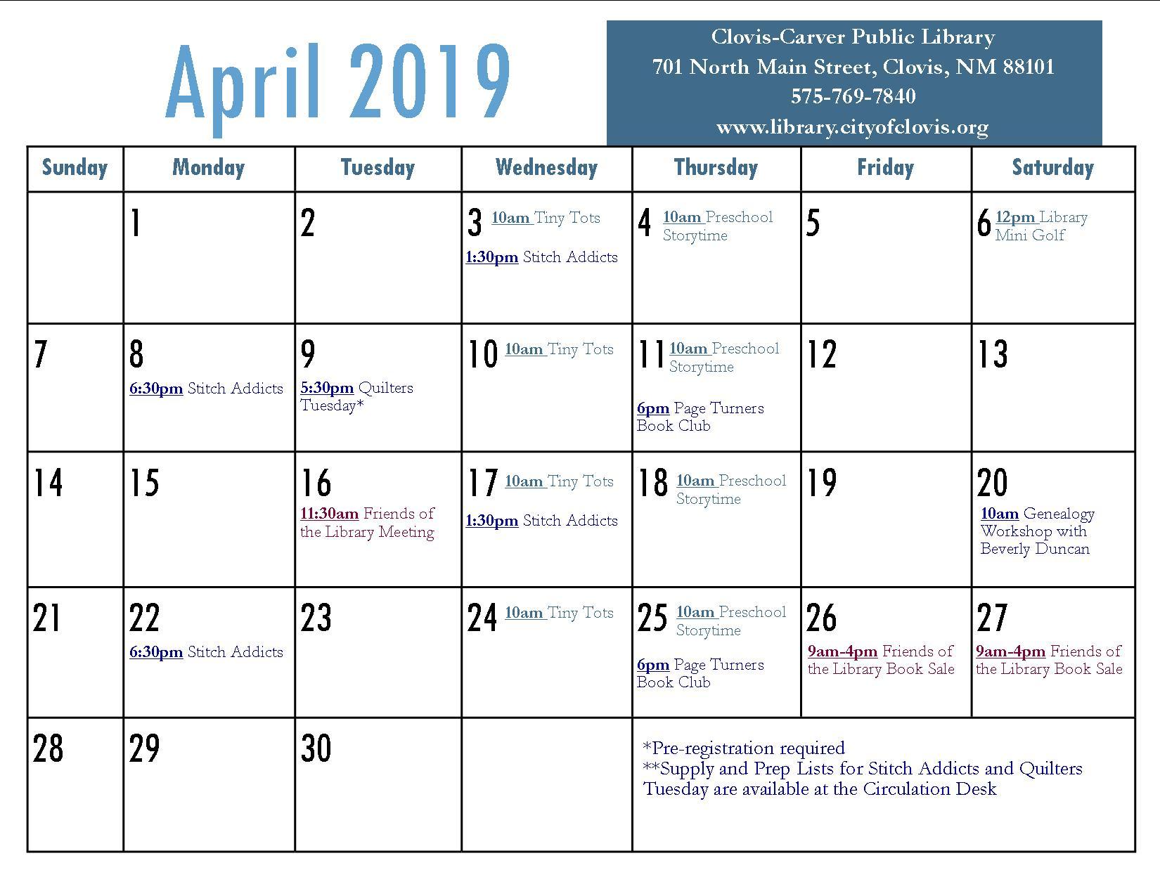 Calendar | April 2019
