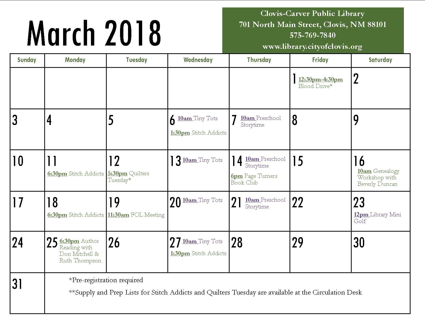 Calendar | March 2019