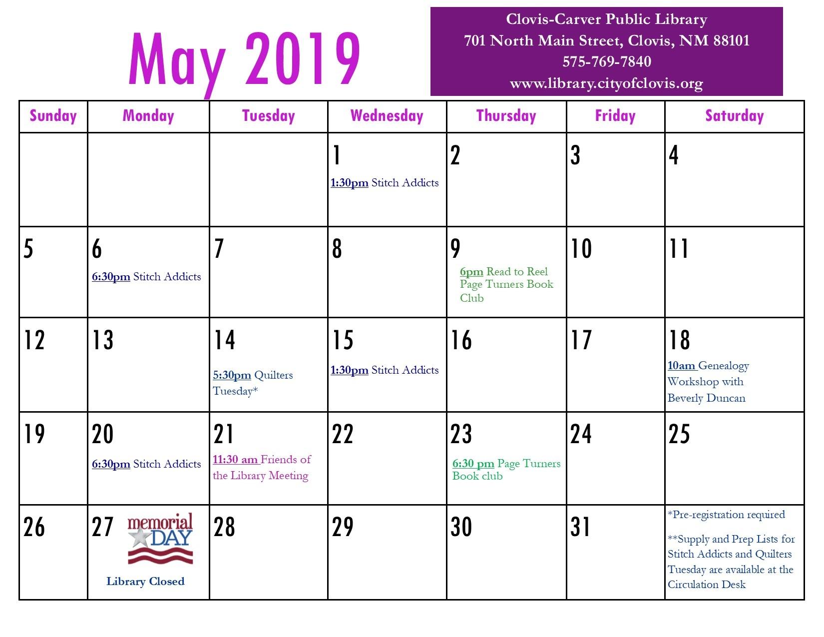 Calendar | May 2019